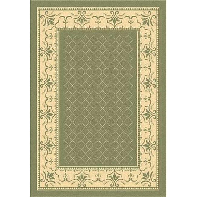 Safavieh Royal Olive Green/ Natural Indoor/ Outdoor Rug (6'7 x 9'6)