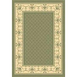 Safavieh Royal Olive Green/ Natural Indoor/ Outdoor Rug (6'7 x 9'6) - Thumbnail 1