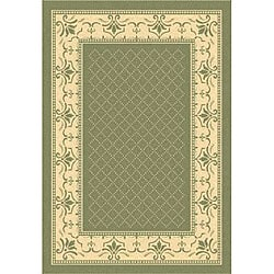 Safavieh Royal Olive Green/ Natural Indoor/ Outdoor Rug (6'7 x 9'6)