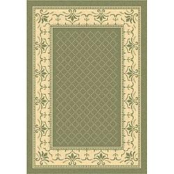 Safavieh Royal Olive Green/ Natural Indoor/ Outdoor Rug - 6'7 x 9'6