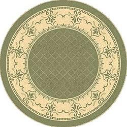 "Safavieh Royal Olive Green/ Natural Indoor/ Outdoor Rug - 5'3"" x 5'3"" round - Thumbnail 0"