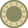 """Safavieh Royal Olive Green/ Natural Indoor/ Outdoor Rug - 5'3"""" x 5'3"""" round"""