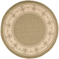 """Safavieh Royal Olive Green/ Natural Indoor/ Outdoor Rug - 6'7"""" x 6'7"""" round"""