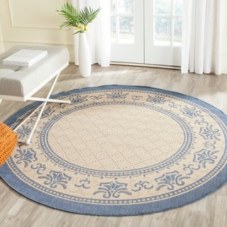 Safavieh Royal Natural/ Blue Indoor/ Outdoor Rug (6'7 Round)