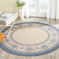 "Safavieh Royal Natural/ Blue Indoor/ Outdoor Rug - 6'7"" x 6'7"" round"