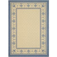 Safavieh Royal Natural/ Blue Indoor/ Outdoor Rug - 6'7 x 9'6
