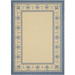 Safavieh Royal Natural/ Blue Indoor/ Outdoor Rug (4' x 5'7)