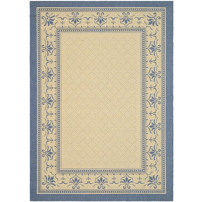 Safavieh Royal Natural/ Blue Indoor/ Outdoor Rug (5'3 x 7'7)