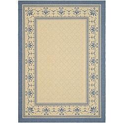 Safavieh Royal Natural/ Blue Indoor/ Outdoor Rug (5'3 x 7'7)