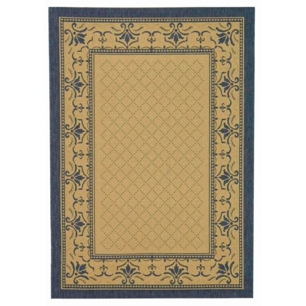 "Safavieh Royal Natural/ Blue Indoor/ Outdoor Rug - 5'-3"" x 7'-7"""