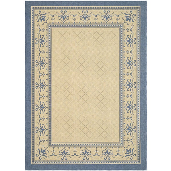 Safavieh Royal Natural/ Blue Indoor/ Outdoor Rug - 9' x 12'