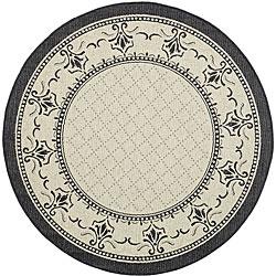 Safavieh Royal Sand/ Black Indoor/ Outdoor Rug (6'7 Round)