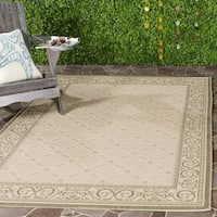 Safavieh Bay Natural/ Olive Green Indoor/ Outdoor Rug - 6'7 x 9'6