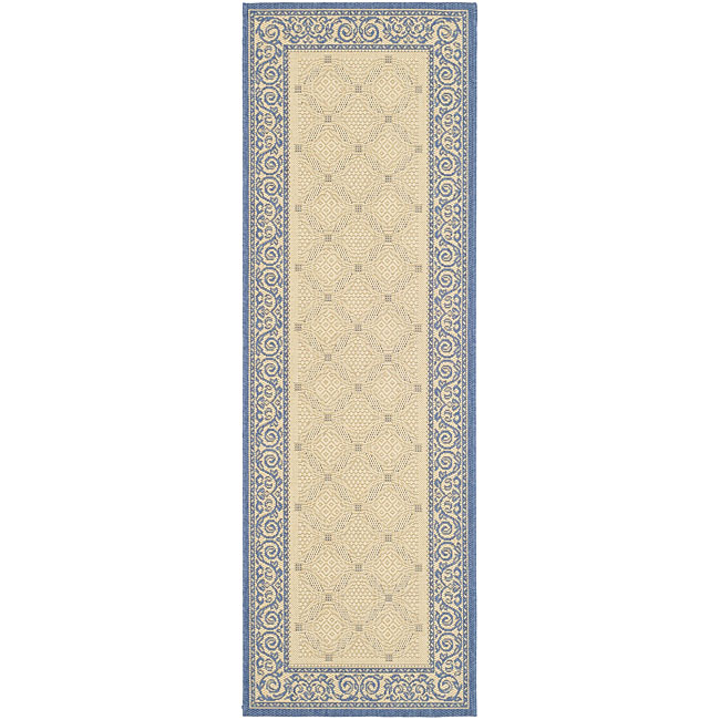 Safavieh Bay Natural/ Blue Indoor/ Outdoor Runner (2'4 x 6'7)