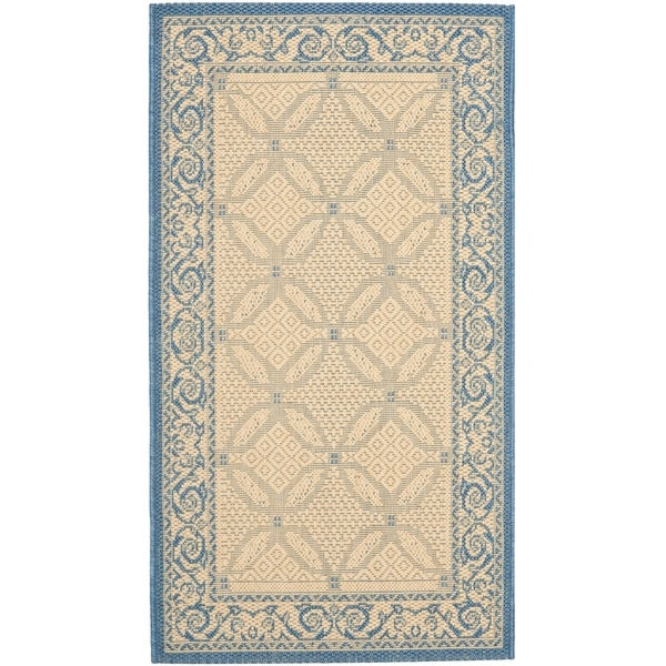 "Safavieh Bay Natural/ Blue Indoor/ Outdoor Rug - 2'7"" x 5'"