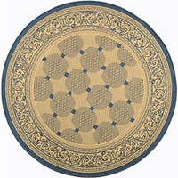 "Safavieh Bay Natural/ Blue Indoor/ Outdoor Rug - 6'7"" x 6'7"" round"
