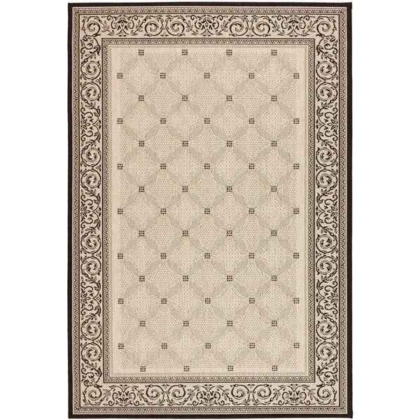 Safavieh Bay Sand/ Black Indoor/ Outdoor Rug - 8' X 11'