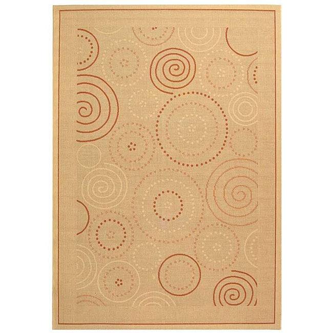 Safavieh Ocean Swirls Natural/ Terracotta Indoor/ Outdoor Rug - 9' x 12'