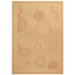 Safavieh Ocean Swirls Natural/ Terracotta Indoor/ Outdoor Rug (9' x 12')