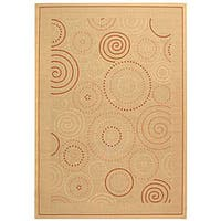 Safavieh Ocean Swirls Natural/ Terracotta Indoor/ Outdoor Rug - 9' x 12'