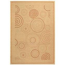 Safavieh Ocean Swirls Natural/ Terracotta Indoor/ Outdoor Rug (9' x 12')