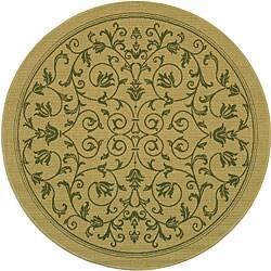 "Safavieh Resorts Scrollwork Natural/ Olive Green Indoor/ Outdoor Rug - 6'7"" x 6'7"" round"