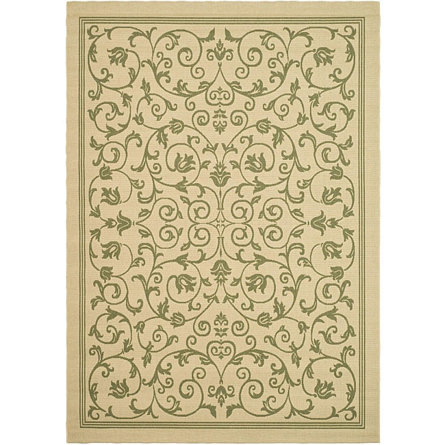 Safavieh Resorts Scrollwork Natural/ Olive Green Indoor/ Outdoor Rug (6'7 x 9'6) - Thumbnail 0
