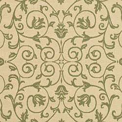 Safavieh Resorts Scrollwork Natural/ Olive Green Indoor/ Outdoor Rug (6'7 x 9'6) - Thumbnail 2