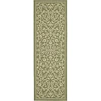 Safavieh Resorts Scrollwork Olive Green/ Natural Indoor/ Outdoor Runner (2'4 x 6'7) - 2'4 x 6'7