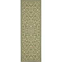 Safavieh Resorts Scrollwork Olive Green/ Natural Indoor/ Outdoor Runner - 2'4 x 6'7