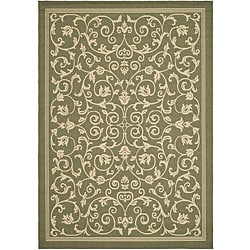 Safavieh Indoor/ Outdoor Resorts Olive/ Natural Rug (6'7 x 9'6)