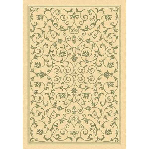 Safavieh Resorts Scrollwork Natural/ Olive Green Indoor/ Outdoor Rug - 2'7 x 5'