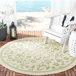 Safavieh Resorts Scrollwork Natural/ Olive Green Indoor/ Outdoor Rug (5'3 Round)
