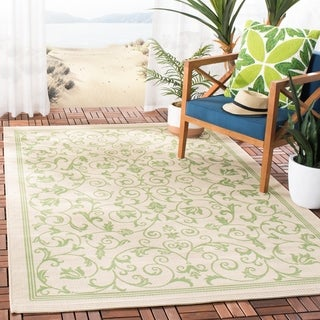 Safavieh Resorts Scrollwork Natural/ Olive Green Indoor/ Outdoor Rug (4' x 5'7)