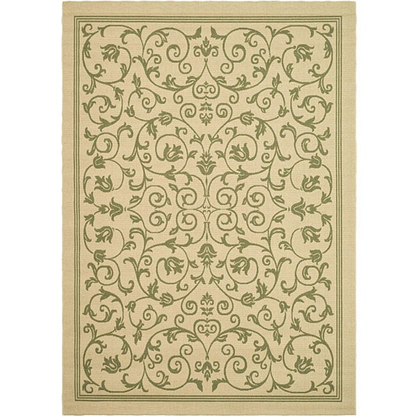 Safavieh Resorts Scrollwork Natural/ Olive Green Indoor/ Outdoor Rug - 8' x 11'