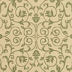 Safavieh Resorts Scrollwork Natural/ Olive Green Indoor/ Outdoor Rug (9' x 12') - Thumbnail 2