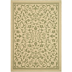 Safavieh Resorts Scrollwork Natural/ Olive Green Indoor/ Outdoor Rug (9' x 12')