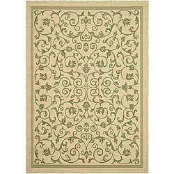 Safavieh Resorts Scrollwork Natural/ Olive Green Indoor/ Outdoor Rug (9' x 12')|https://ak1.ostkcdn.com/images/products/4765566/Indoor-Outdoor-Resorts-Natural-Olive-Rug-9-x-12-P12668127.jpg?impolicy=medium