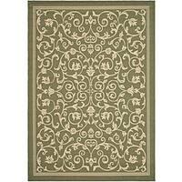 Safavieh Resorts Scrollwork Olive Green/ Natural Indoor/ Outdoor Rug - 4' x 5'7