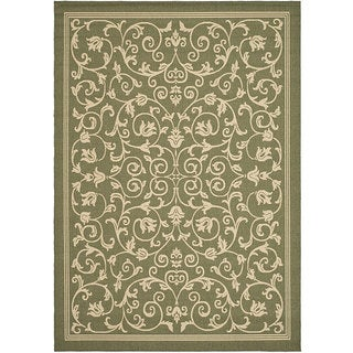 Safavieh Resorts Scrollwork Olive Green/ Natural Indoor/ Outdoor Rug (5'3 x 7'7)