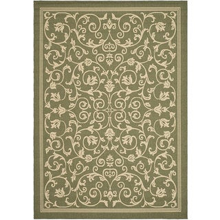Safavieh Resorts Scrollwork Olive Green/ Natural Indoor/ Outdoor Rug (8' x 11')