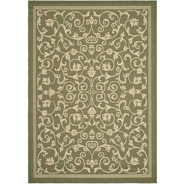 Safavieh Resorts Scrollwork Olive Green/ Natural Indoor/ Outdoor Rug - 8' x 11'
