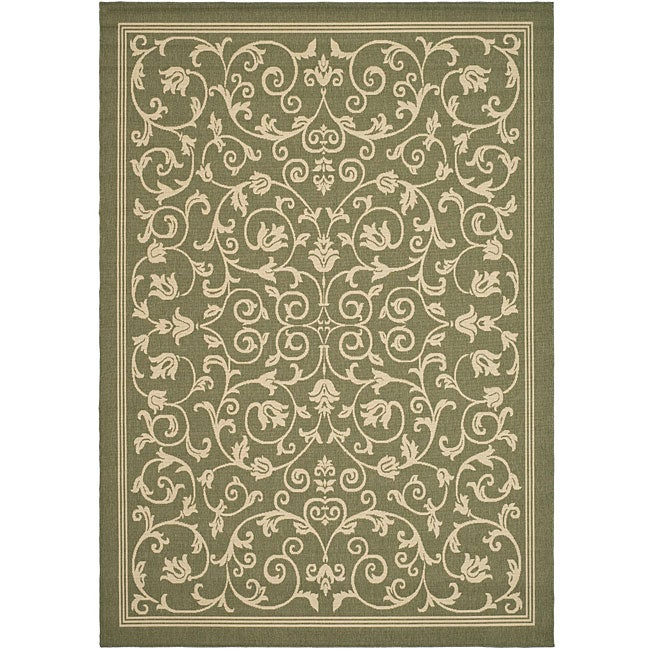 Safavieh Resorts Scrollwork Olive Green Natural Indoor Outdoor Rug 8 X27