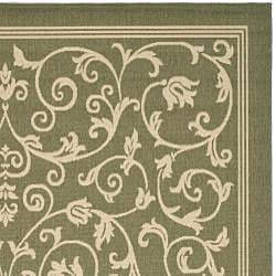 Safavieh Resorts Scrollwork Olive Green/ Natural Indoor/ Outdoor Rug (8' 11 x 12' ) - Thumbnail 1