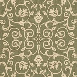 Safavieh Resorts Scrollwork Olive Green/ Natural Indoor/ Outdoor Rug (8' 11 x 12' ) - Thumbnail 2