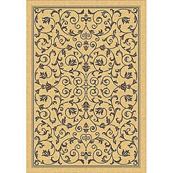 Safavieh Resorts Scrollwork Natural/ Brown Indoor/ Outdoor Rug (4' x 5'7)