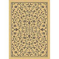 Safavieh Resorts Scrollwork Natural/ Brown Indoor/ Outdoor Rug - 4' x 5'7