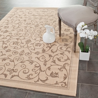 Safavieh Resorts Scrollwork Natural/ Brown Indoor/ Outdoor Rug (6'7 x 9'6)