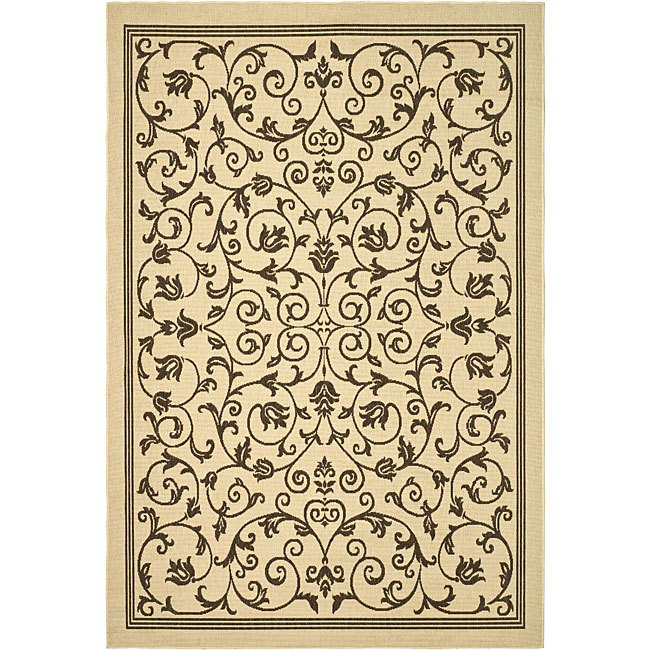 Safavieh Resorts Scrollwork Natural/ Brown Indoor/ Outdoor Poolside Rug (5'3 x 7'7)