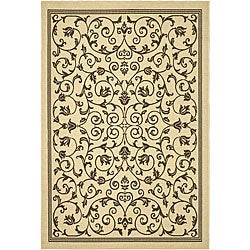 Safavieh Resorts Scrollwork Natural/ Brown Indoor/ Outdoor Rug (9' x 12')